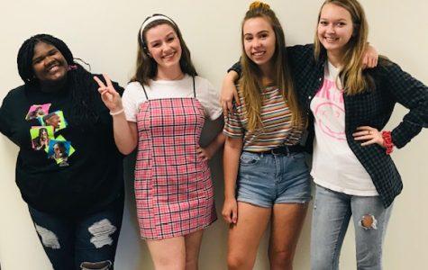Left to Right: Kayla Jarrett, Jade Belden, Evie Karnes, Morgan Campbell all show their school spirit on decades day!