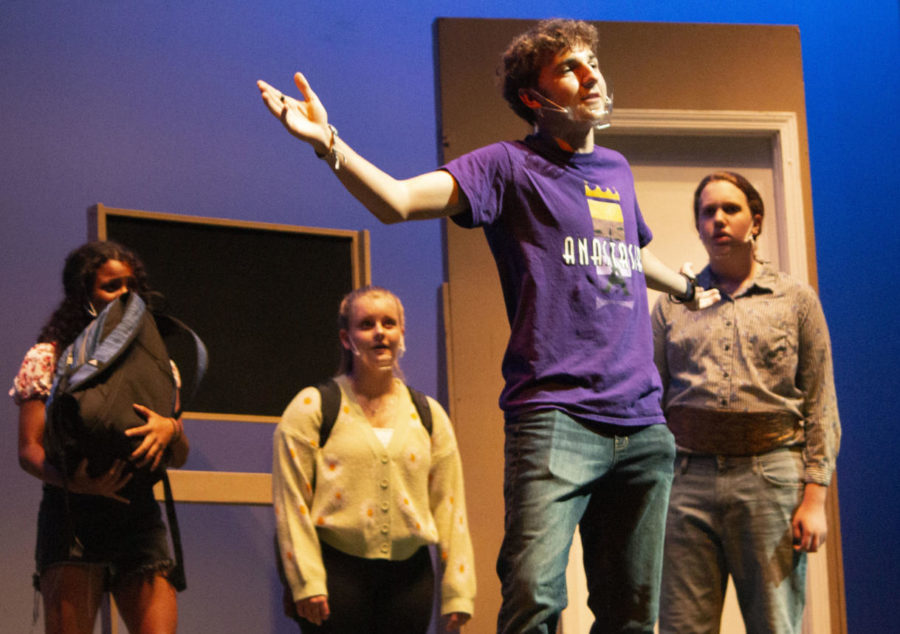 Sophomore Carter Smith acts in Cast List directed by Seniors Sydney Nicks and Lila Wojcik. Photo by Logan Green